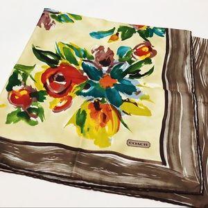 Coach Watercolor Floral 100% Silk Scarf